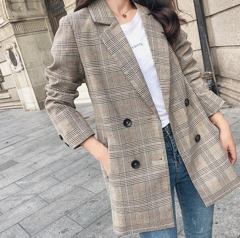 2019 Spring Women Plaid Blazer Korean Fashion Streetwear Causal Plaid Coat Double Breasted Office Ladies Houndstooth Blazer