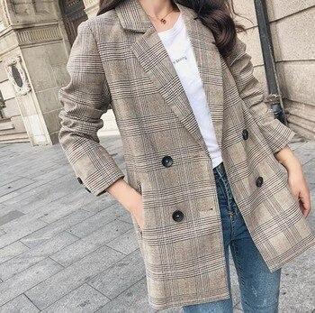 024653309 2019 primavera las mujeres las Plaid chaqueta coreano moda Streetwear  Causal abrigo a cuadros doble Breasted señoras de la Oficina pata de gallo  Blazer
