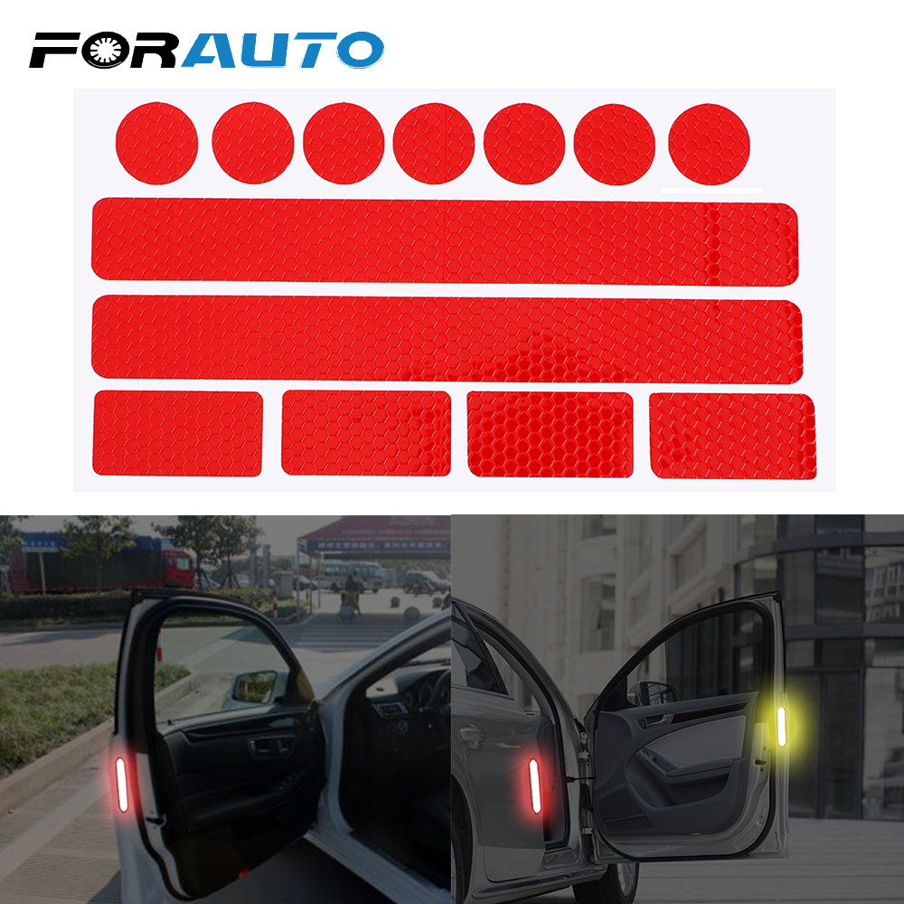 FORAUTO 13 Pieces In 1 Car Safety Warning Tape Reflective Strips 4 Colors Bumper Bike Decal Sticker Car Sticker Car-styling