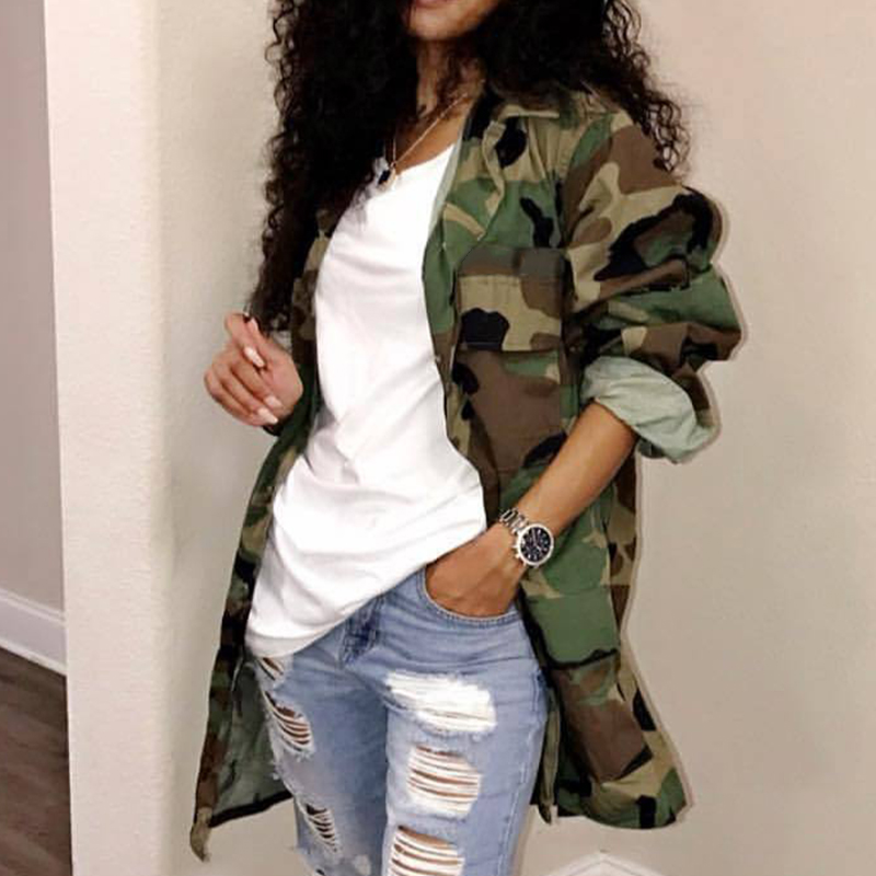 Stylish Women Camouflage Lapel Long Sleeve Autumn   Coat   Jacket Casual Outwear
