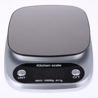 موازين المطبخ الغذاء الخبز الوزن الرقمية LCD مقياس وزن إلكتروني 10 كجم (الفضة)