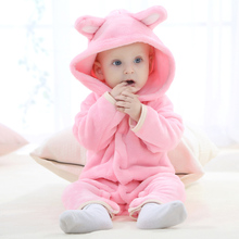 hot deal buy 0-2 years old baby clothing flannel solid color bear animal shape baby onesies smooth and comfortable cute baby onesies