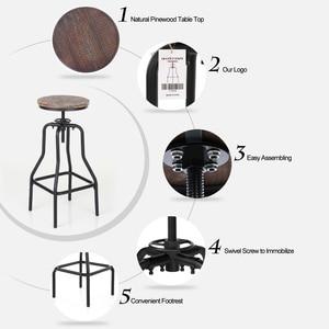 Image 2 - Барные стулья iKayaa, стильные регулируемые по высоте вращающиеся барные стулья, натуральная сосна, верхняя кухня, барная мебель