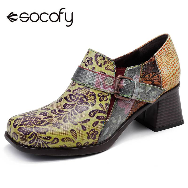 Socofy 빈티지 플로랄 패턴 버클 지퍼 펌프 스퀘어 힐 정품 가죽 우아한 숙녀 신발 새로운 2019 봄 botas mujer-에서여성용 펌프부터 신발 의  그룹 1