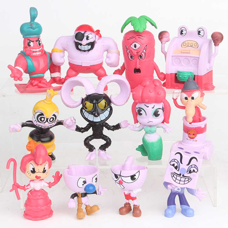 12 stks/set Video Game Cuphead Cijfers Mugman Boss De Duivel Legendarische Kelk Action Figure Poppen Cartoon PVC Speelgoed Kids 5 -10 cm