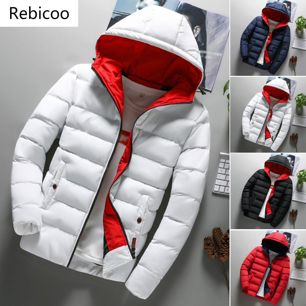 2019 New Fashion Mens Coat Men Clothes  Boys Casual  Warm Hooded Winter Zipper Coat Outwear Jacket Top
