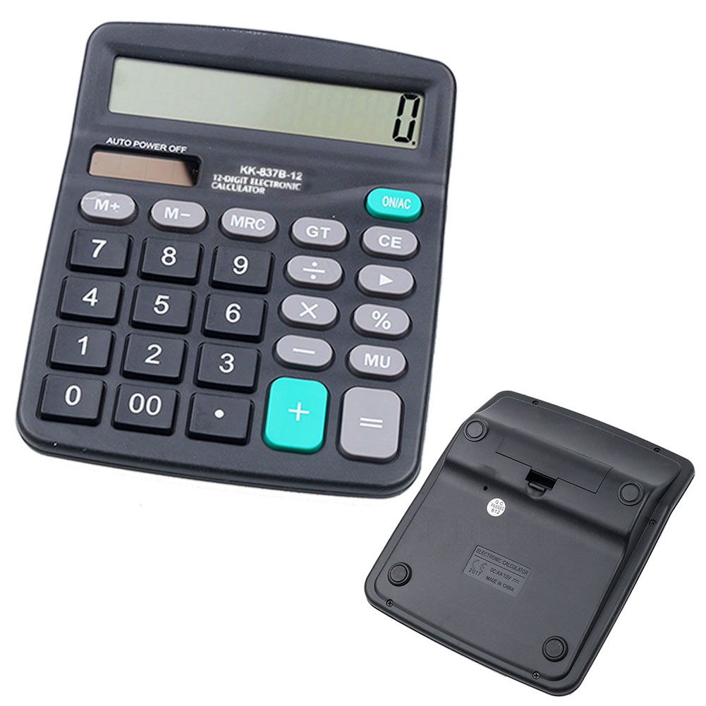 12 Digit Display Desktop Calculator,Calculate Commercial Tool Battery Powered 12 Digit Electronic Calculatory(black)