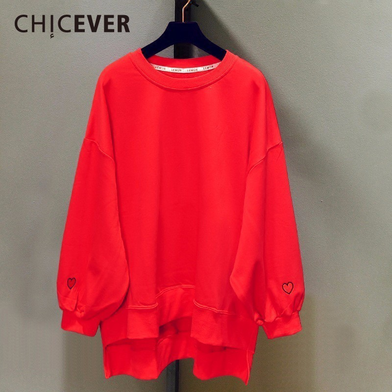 CHICEVER 2020 Spring Embroidery Female Sweatshirt For Women Top Pullovers Batwing Sleeve Loose Big Size Sweatshirts Clothes New