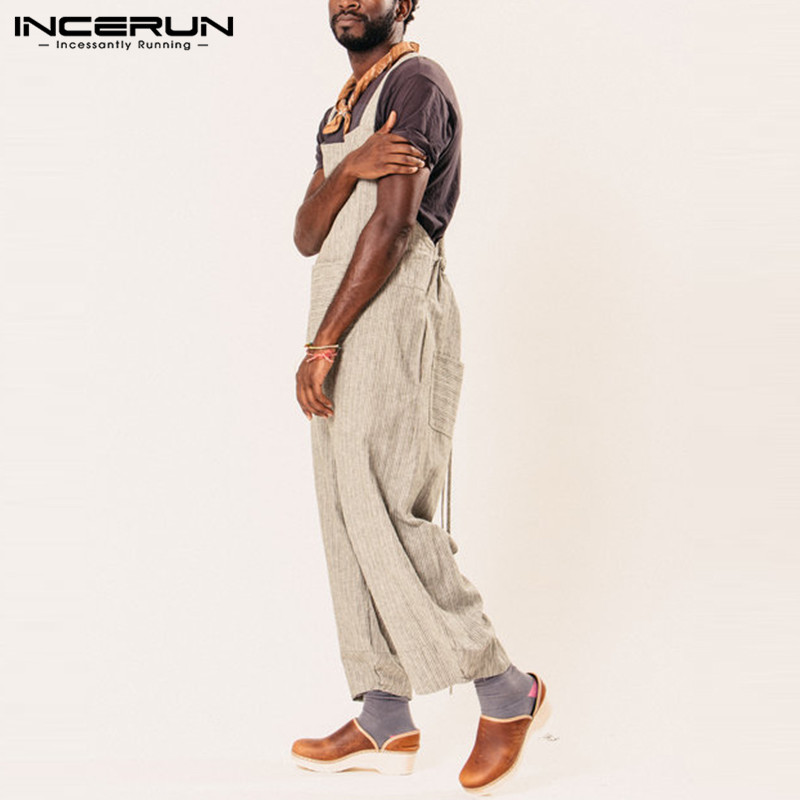 9ac95010ff1d Plain Men Jumpsuit Rompers Stripe Wide Leg Pants Baggy Dungarees Overalls  Casual Jumpsuits Pants Hombre Garment Overalls Female-in Overalls from Men s  ...
