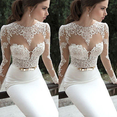 Women's Lace Long Evening Ball  Formal  Party Dress