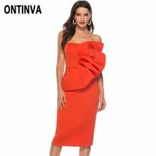 ONTINVA Women Off Shoulder Party Dress Sexy Front Ruffles Tube Vestido Bodycon  Dress 107393e661f6