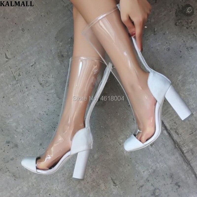 0967f154e37740 Bloc Rond Zip Bottes mollet Talons Mi Effacer Piste Chaussures Botas  Pictures Mode as Bout Haute Pvc As Femmes ...