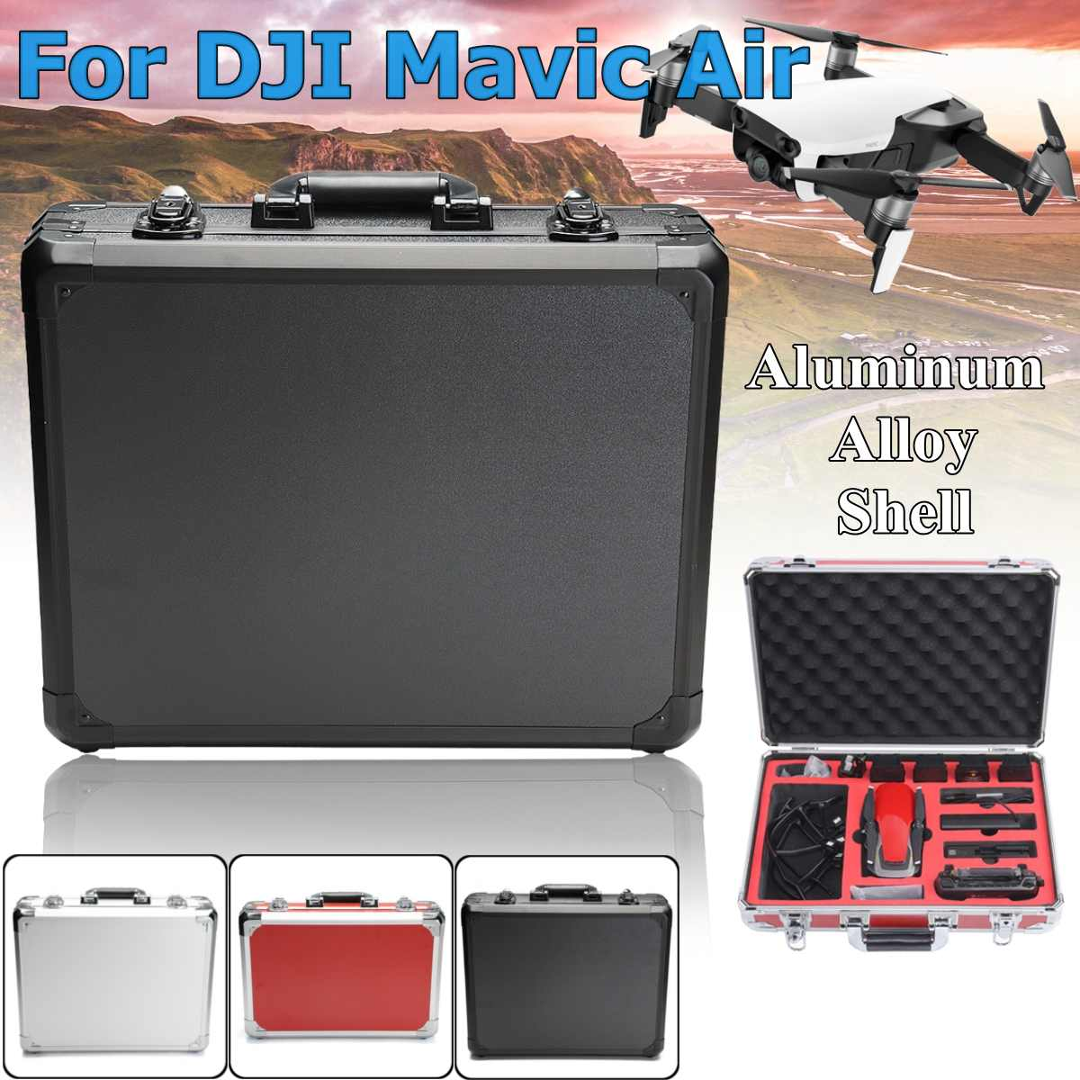 a Black Silver Red colour Standard Type Carrying Case for DJI Mavic Air with large capacity light weight