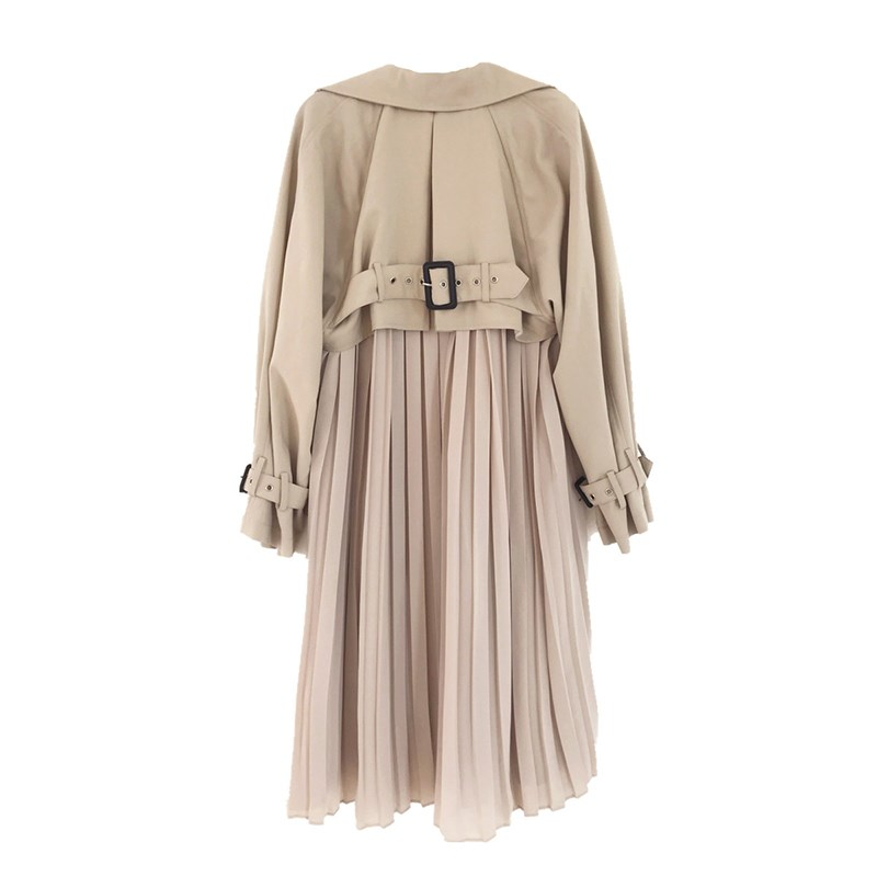 Women Chic Spring Autumn Windbreaker Coat Causal Chiffon Splice Pleated Long   Trench   Coat Loose Office Lady Belted Thin   Trench