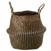 Foldable Seagrass Storage Baskets Handmade Straw Patchwork Wicker Rattan Belly Plant Basket