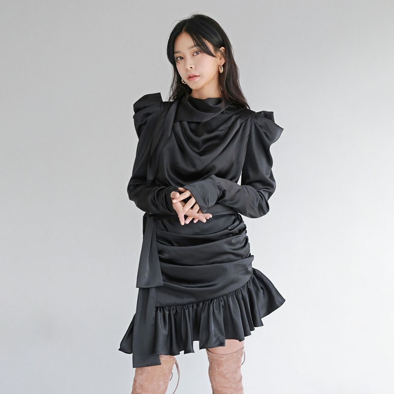 TWOTWINSTYLE Asymmetrical Dress Female Bowknot Puff Long Sleeve Bandage Ruffle Hem Black Dresses Women 2019 Spring Fashion New-in Dresses from Women's Clothing    2