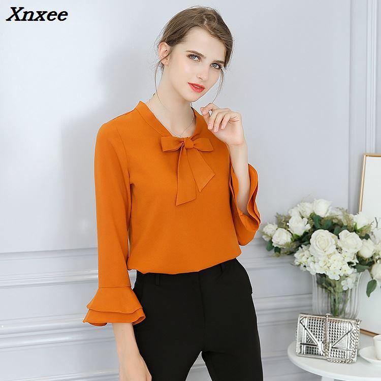 Chiffon blouse women shirts plus size long sleeve elegant slim solid fashion casual loose shirt with bow women's tops clothing