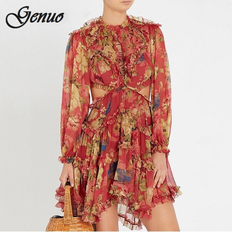 2019 Fall Autumn New Vocation and Holiday Flower Print Sexy Backless Dress Women Long SLeeve Fashion