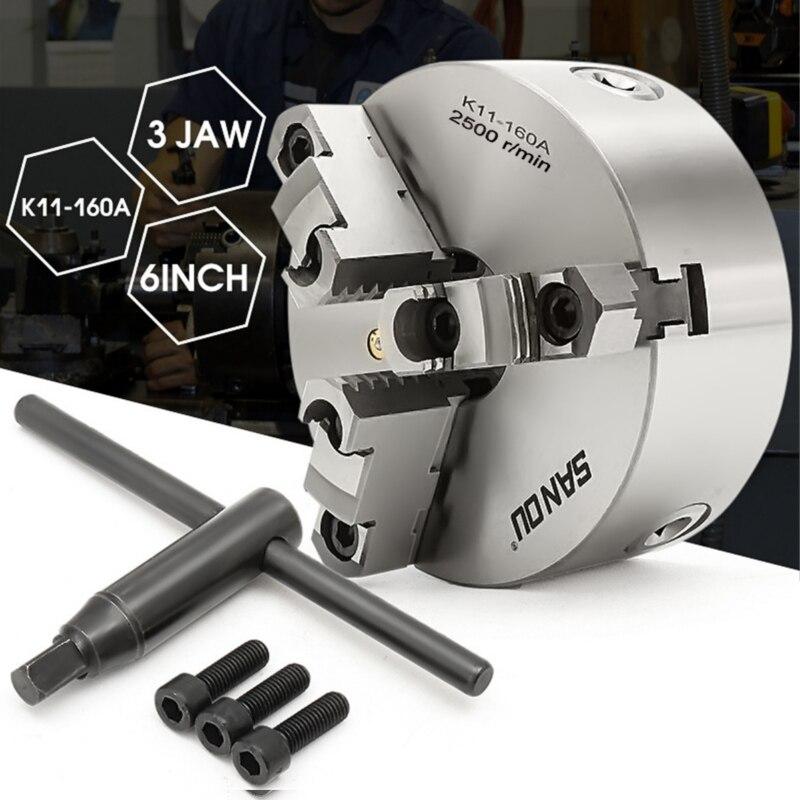 3 Jaw K11-160A Tornio Metallo Mandrino Autocentrante Hardened di Perforazione 160 millimetri di Montaggio