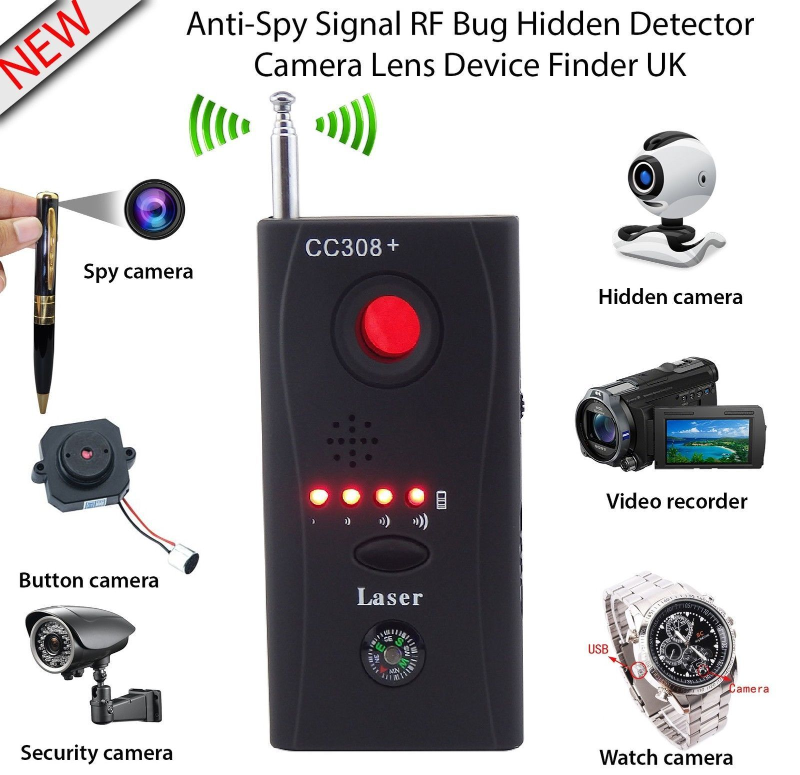 Anti Spy Detector Hidden Camera GSM Audio Bug Finder GPS Signal RF Tracker CAAnti Spy Detector Hidden Camera GSM Audio Bug Finder GPS Signal RF Tracker CA