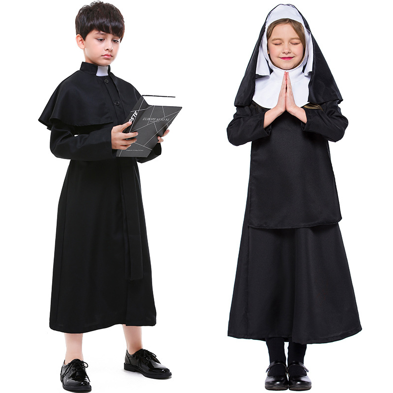 Kid Halloween Boys Missionary Priest Father Girls Nun Virgin Mary Outfit Church Role Costume