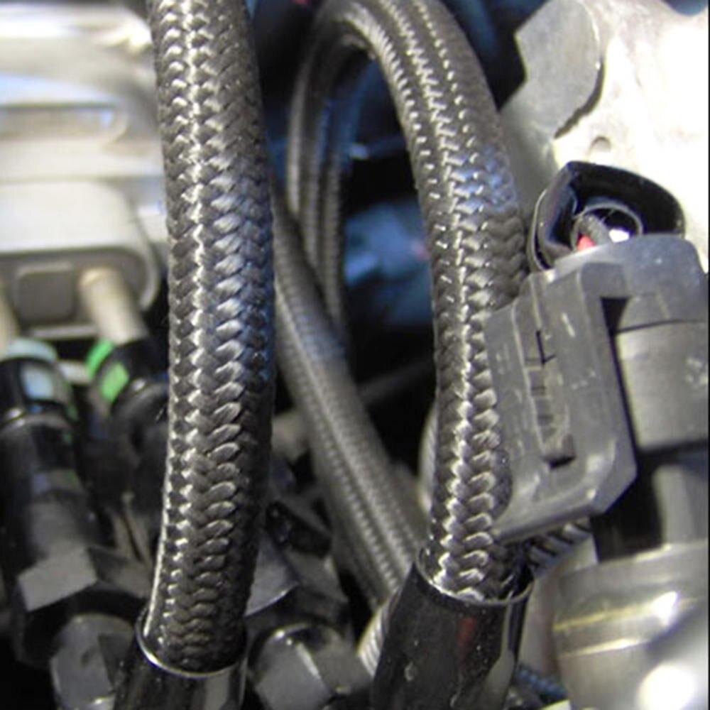 1M Black Nylon Steel Braided Brake Gas Oil Fuel Line Hose AN4 AN6 AN8 AN10