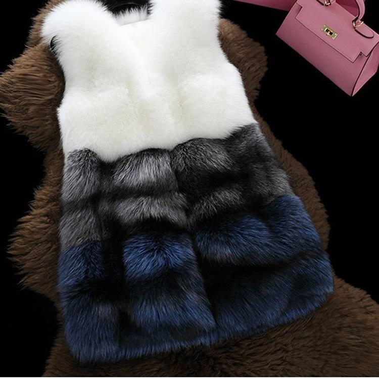 Blue Manteau Épaissir Gilet Casual 2018 Outwear La Hiver Chaud gold Taille Fourrure De Plus Faux 3xl Couleur Contraste black En Fausse Femme Blanc Rayé wvX1Svq6T