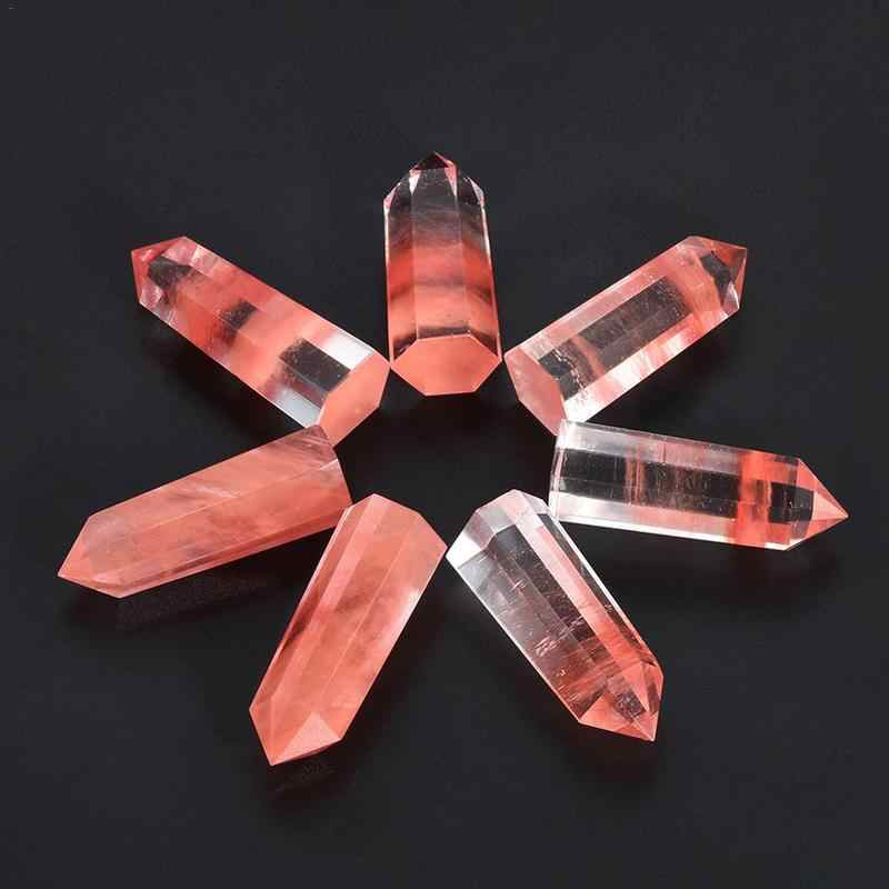 100% Natural Red Fluorite Quartz Crystal Stone Point Healing Hexagonal Quartz Crystal Wand Treatment Stone #BW