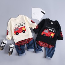 Infant Clothing Sets Baby Girls Boys Cotton Clothes Suits Children Cartoon Car T-Shirt Pants 2Pcs/Set Kids Casual Tracksuits купить недорого в Москве