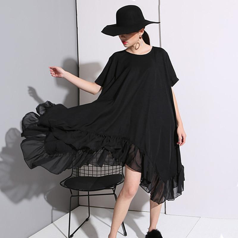 [EAM] 2020 New Big Size Loose Fashion Korea Style Irregular Black Chiffon Dress Lotus Leaf Dresses For Women 44641