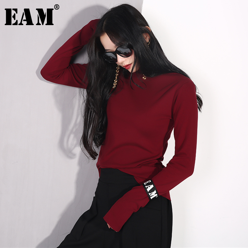 [EAM] 2019 New Spring Summer Round Neck Short Sleeve Hit Color Split Joint Loose Bandage T-shirt Women Fashion Tide JT614