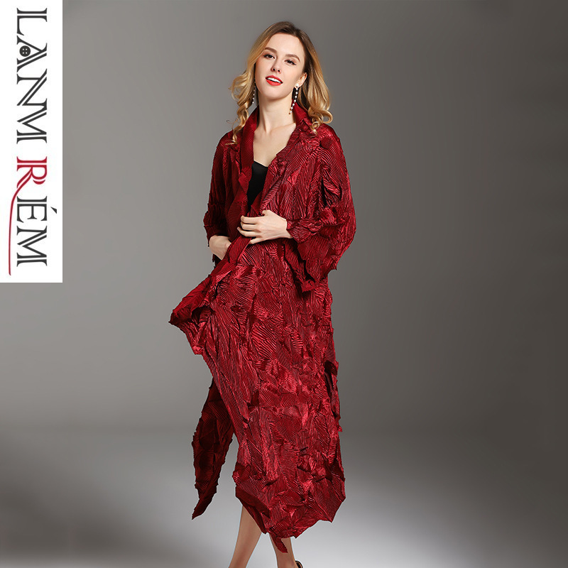 LANMREM 2018 New Fashion Velvet Irregular Dress Fashion Lady Temperament Large Size Pleated   Trench   Coat Female Vestido YG036