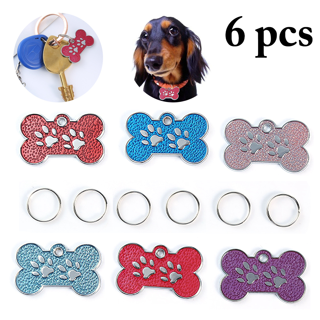 6pcs Personalized <font><b>Dog</b></font> ID Tags Stainless Steel Pet ID Tags for cats and <font><b>dogs</b></font> <font><b>Collar</b></font> Accessories <font><b>Dog</b></font> Tag Engraved Tel <font><b>Sex</b></font> Name Tag image