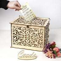 30x24x22.5cm /15x15x22.5cm Wedding Card Box Birthday Party Decorations Wooden Box with Lock DIY Money Box Gift For Guest