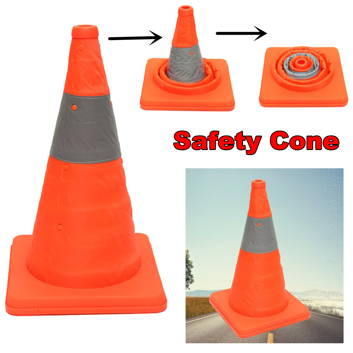 NEW Folding Collapsible Orange Road Safety Cone Traffic Pops Up Parking Multi Purpose title=