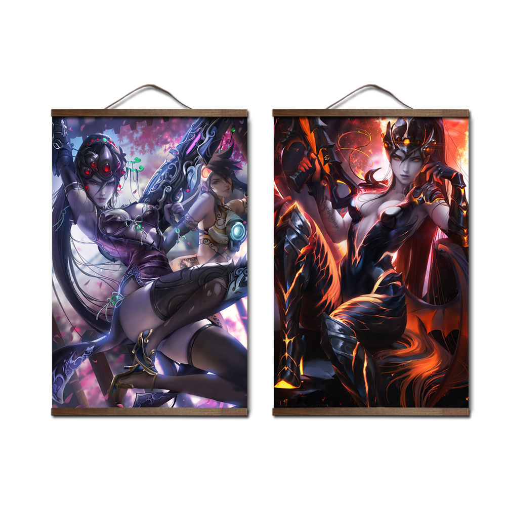 Overwatchs Widowmaker poster canvas HD decoration ganme painting for living room with solid wood hanging scroll frame