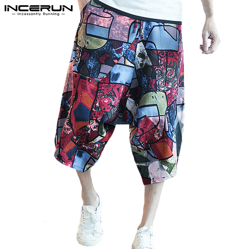 INCERUN Casual Men Harem Pants Print Drop Crotch Joggers Baggy Wide Leg Trousers Men Streetwear Hip-hop Calf-length Pants 2019