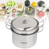 Mini olla de vapor de imitación de acero inoxidable para niños, juguete de cocina, cocina