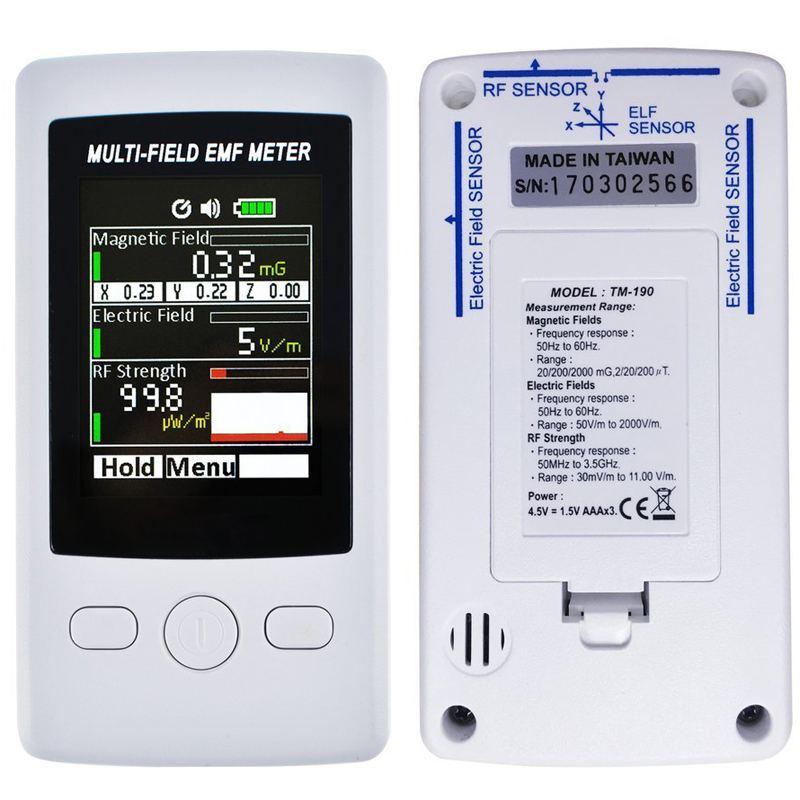 DANIU TM190 Electromagnetic Radiation Detector Multi-Field EMF Meter Gauss 3-axis Magnetic Electric RF Field Strenght Digital