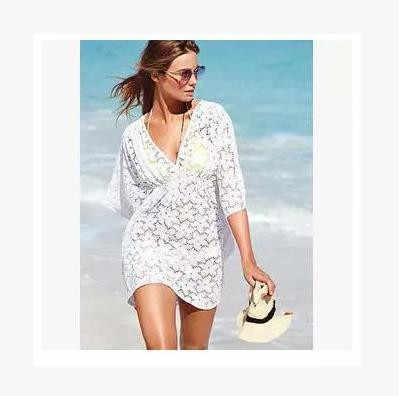 7df7c8ce1a ... Deep-V Neck Swimsuit White Lace Cover Ups Women 2018 Sexy Kaftan Beach  Tunic Dress