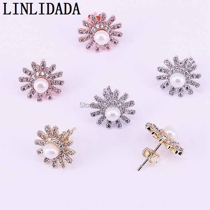 10Pair Pave Zirconia Crystal Pearl Stud Earrings Fashion Flower Earrings for Women Wedding Party Gift Jewelry