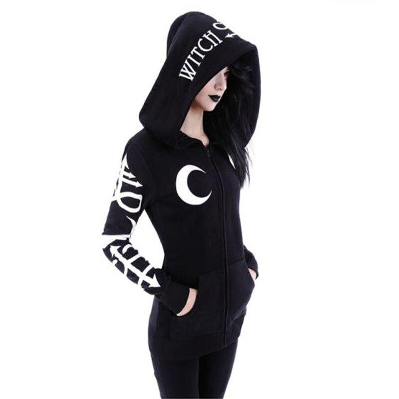 Women's Clothing Symbol Of The Brand Women Hoodies Gothic Punk Moon Letter Print Sweatshirts Autumn Winter Long Sleeve Black Jacket Zipper Coat Casual Hoody 2xl
