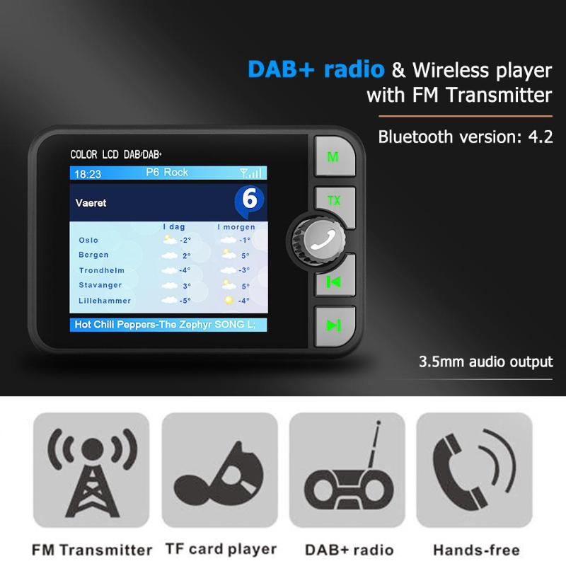 C6 voiture DAB Radio récepteur FM transmetteur Bluetooth mains libres lecteur de musique natif TF carte lecteur de musique 2.4 pouces couleur LCD displa