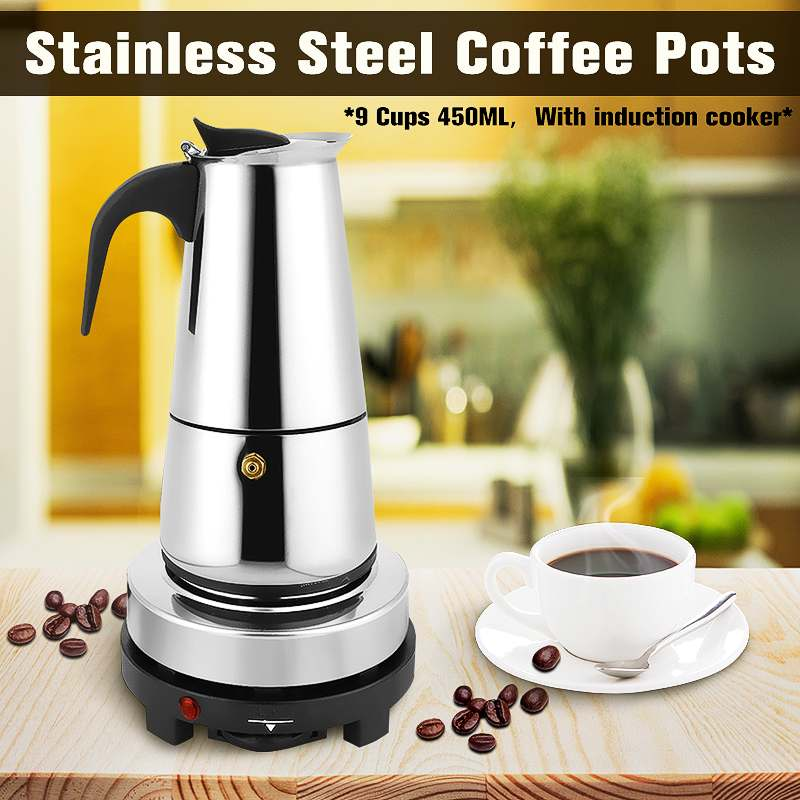 450ml 9 Cups Moka Mocha Espresso Latte Stovetop Filter Coffee Maker Pot Percolator Stainless Steel w/Electric Stove Ourdoor Home цены