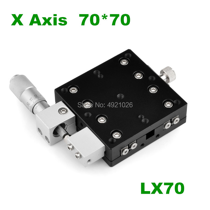 Free shipping X Axis 70x70mm LX70-L LX70-C LX70-R Trimming Platform Manual Linear Stages Bearing Tuning Sliding Table Cross RailFree shipping X Axis 70x70mm LX70-L LX70-C LX70-R Trimming Platform Manual Linear Stages Bearing Tuning Sliding Table Cross Rail