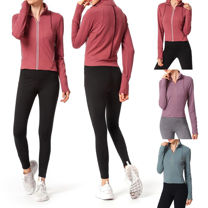 Stand Collar Well-Fitting Fitness Clothes Casual Running Top Zipper Jacket Yoga Clothes Sports Jacket
