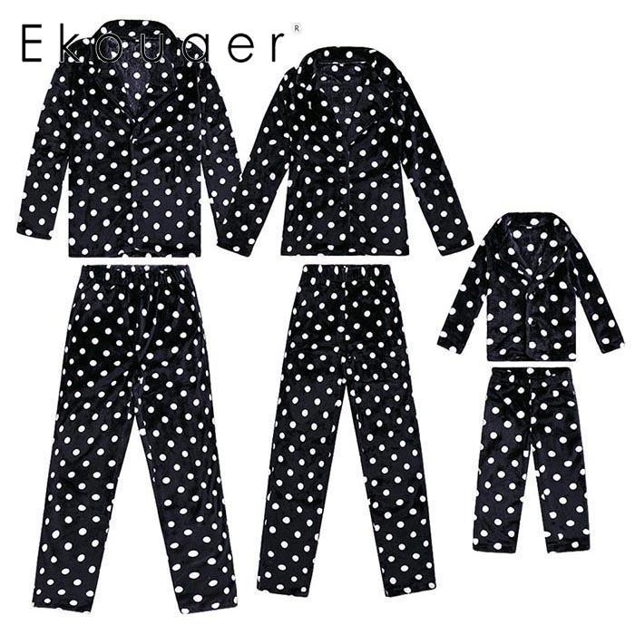 Ekouaer Flannel Family Pajama-Set Sleepwear Nightwear Winter Black V-Neck Mom Polka-Dot