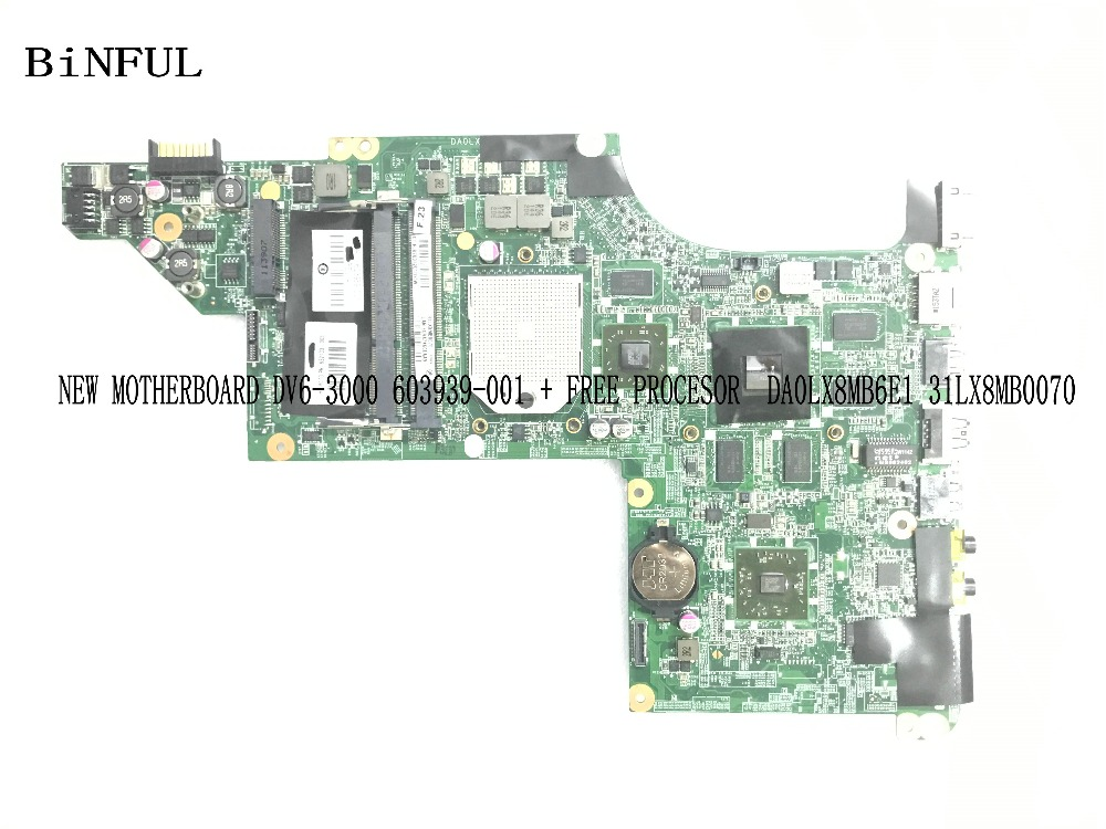 BiNFUL NEW ITEM,   595133-001 FOR HP PAVILION DV6-3000 NOTEBOOK MOTHERBOARD ,with Free Processor. HD5650 1gb