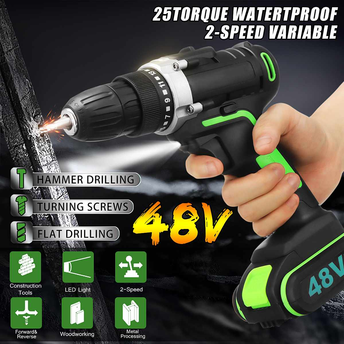 48V Cordless Electric Drill Hammer Wrench Double Speed Adjustment LED Lighting Carpentering Tools Screwdriver Power Tools