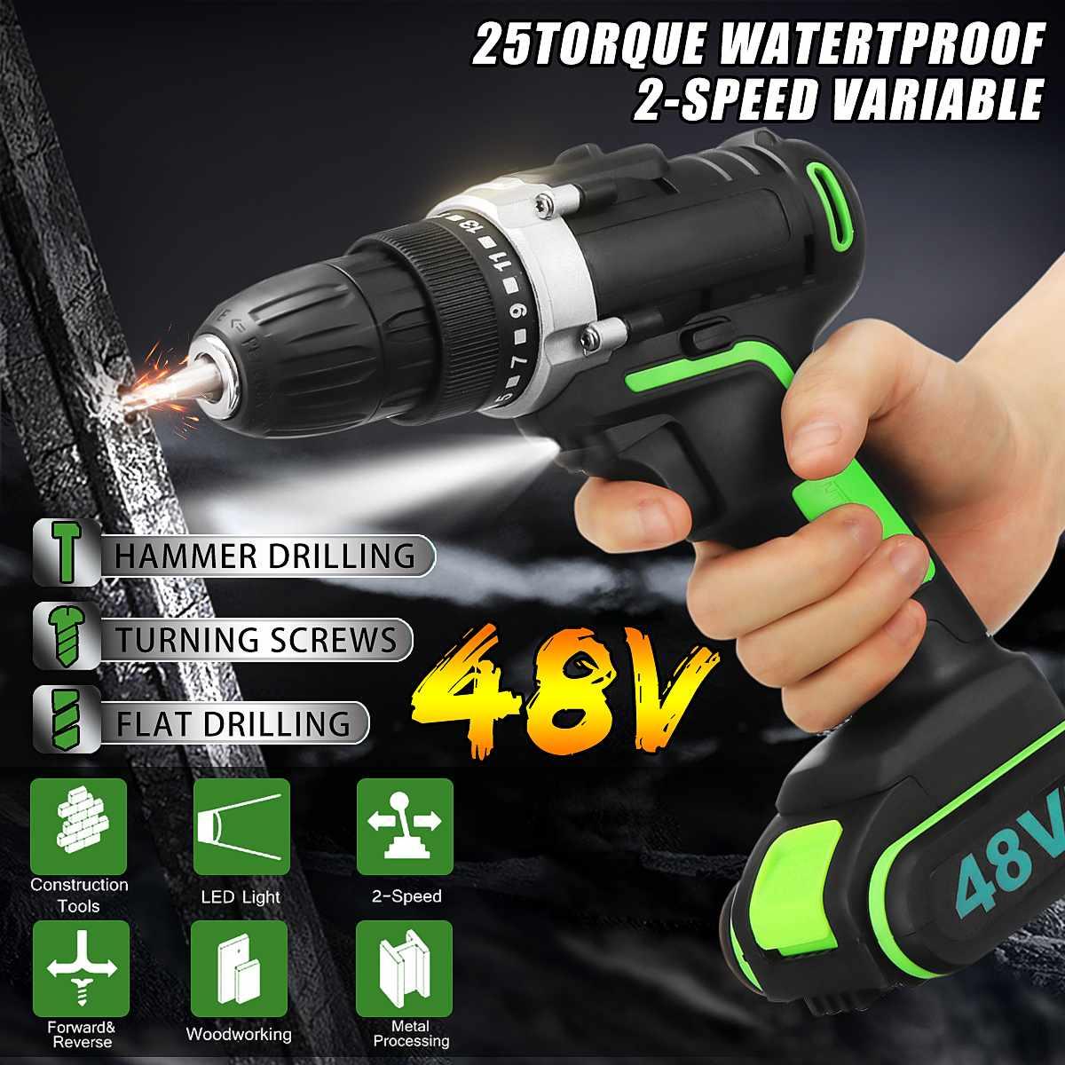 48V Sem Fio Furadeira Elétrica Martelo Chave Ferramentas Chave De Fenda De Ajuste de Velocidade Dupla CONDUZIU a iluminação Ferramentas de Carpintaria
